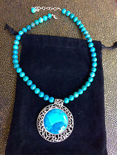 Designer Large Turquoise and Sterling Silver Necklace by Barse