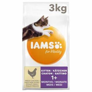 IAMS For Vitality Kitten Fresh Chicken Easily Digestible Dry Cat Food *3KG Pack*