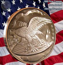"""""""Eagle & Shield"""" 1 oz .999 Copper Round Beautiful Design"""