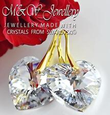 Gold Plated 925 Silver Earrings Crystals From Swarovski® HEART Crystal CAL 18mm
