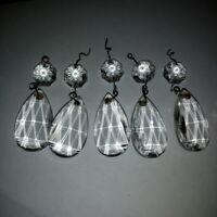 5 Pampilles + 5 octogons pour coupelle de lustre + fixations Hauteur:5,50 cm