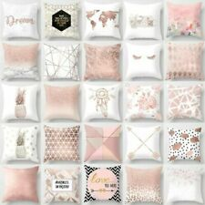 Rose Gold Cushion Covers Pink Grey Geometric Marble Pillow Cases Sofa Home Decor