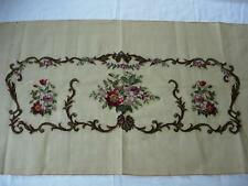Floral Pre-Worked Needlepoint Petit-Point Canvas piano bench, sofa seat or back