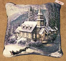 Sunday soirée traîneau Ride église Scène 43.2cm tapisserie oreiller~