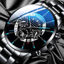 Reloj de pulsera de cuarzo analógico de acero inoxidable de lujo para hombre