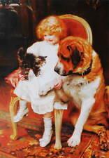 Girl With Kitten and St Bernard Dog, by Arthur John Elsley vintage art
