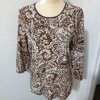 JM Collection brown batik style long sleeve top L cotton blend