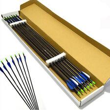 "24X Archery Fiberglass Arrows 32"" Target Practice Screw Tip Compound Recurve Bow"