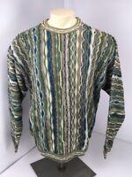 90s Vtg COOGI Australia Blue Green-BIGGIE Cosby sweater EUC FIRE L VAPORWAVE