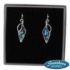 Conch Seashell Earrings Paua Abalone Shell Silver Fashion Jewellery 25mm Drop
