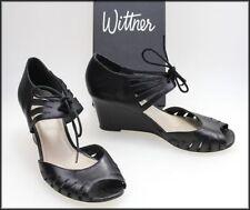 Wittner Wedge Leather Open Toe Heels for Women
