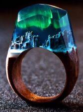 My Secret Wood Resin Aurora Borealis Size 8.5 Ring
