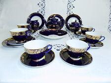 Russian Imperial Lomonosov Cobalt Blue / Gold 22 Piece Tea Set