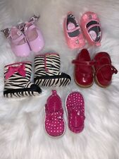 Huge Lot Of 5 Baby Girl Shoes Size 2 & Size 3 9-12 Months Zebra Boots Gymboree &