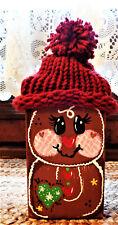 Distressed Rustic Wood Block Gingerbread Boy Shelf Sitter Winter Christmas Decor