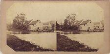 France Campagne Paysage avec rivière et maisons Stéréo Vintage ca 1860
