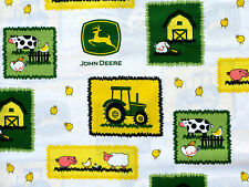 JOHN DEERE TRACTOR FARM SCENE PATCHES SPRING CREATIVE 100% COTTON FABRIC YARDAGE