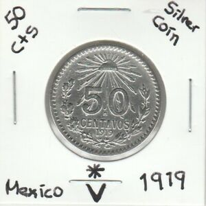 """Mexico: $ 50 Cts Super Nice Silver Coin Year """" 1919 """""""