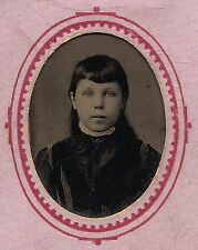 OLD VINTAGE TINTYPE PHOTO of PRETTY YOUNG BEAUTIFUL CUTE LITTLE 9 YEAR OLD GIRL