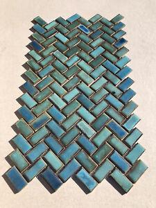 Beautiful Herringbone Mosaic Raku Style