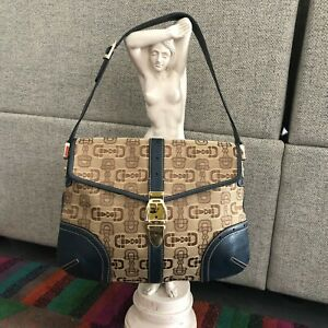 GUCCI Horsebit hobo bag with canvas pattern and blue leather handle and trim