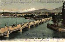 Genf Genève Schweiz Color AK 1904 gelaufen Panorama mit  Blick auf Mont Blanc