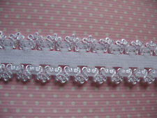 2 YARD WHITE FRILLY EDGE ELASTIC FOE SIZE 3/4 PERFECT FOR HEADBANDS HAIR BOWS