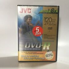 JVC Blank Recordable DVD-R 5 Pack 4.7 GB 1~8x 120 minutes Sealed in Tall Cases