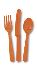 Plastic Cutlery - Pumpkin Orange (24 pack - 8 each forks, knives and spoons)