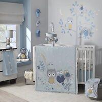 CRIB 4pc OWL BEDDING SET Nursery Baby Boy Girl Animals Stars Blue Grey Quilt NEW