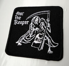 Fear The Grim Reaper Biker Motorcycle Iron On Patch Tombstone rip Death Scythe