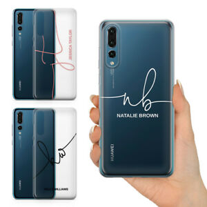 PERSONALISED INITIALS NAME SCRIPT FONT ON CLEAR HARD PHONE CASE FOR HUAWEI P20