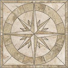 "36"" Porcelain Tile Captain's Compass Rose Mosaic Medallion - HANDMADE IN THE USA"