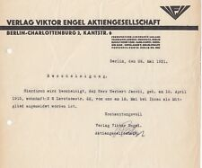 BERLIN-CHARLOTTENBURG, Brief 1931, Verlag Viktor Engel AG