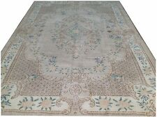 "10' x 6'8"" CREAM BEIGE BLUE taupe TEAL oushak pastel Vintage Overdyed carpet rug"
