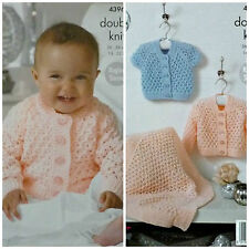 KNITTING PATTERN Baby Sparkle Lacy Cardigans and Lacy Blanket Glitz DK 4396