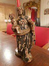 XVIII ème s, Vierge à l'enfant en bois sculpté patiné