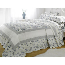 Double Blue Floral Patchwork Quilted Bedspread Throw + 2 Pillow Shams