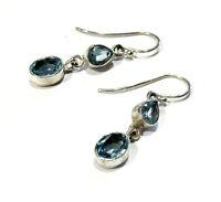 Bijou argent 925 boucles d'oreilles pendantes topaze bleue idéal pour cadeau