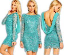 Mayaadi Kleid Minikleid Chiffon Häkel Spitze Abendkleid Spitzenkleid Hochzeit AS