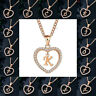 Gold Plated Initial Alphabet Letter A-Z Love Heart Pendant Chain Necklace Gift