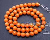 """7-8mm Round Natural Orange Coral Loose Beads for Jewelry Making DIY Strand 15"""""""