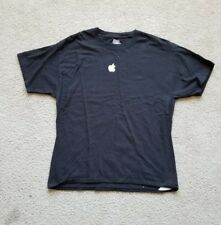Mens APPLE Computer Short Sleeve Shirt Screenprinted Employee Black White Size L