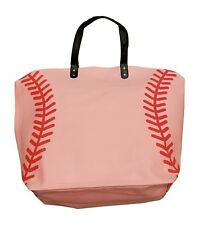 XL Pink Canvas Tote Bag, Extra Large with Baseball Seam Design