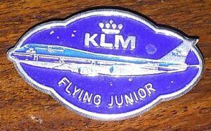 VINTAGE KLM FLYING JUNIOR  AIRLINES PILOT BADGE AVIATION PIN BOEING-747 PLANE