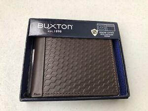 Buxton Men's Bellamy RFID Blocking Leather Front Pocket Slim Wallet, Brown BE820