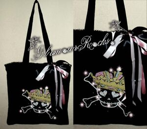 Skull Skeleton Queen King Glamourous Rhinestone Crystal  Tote Bag Purse Book Bag