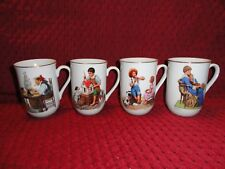 Vintage Set Of 4 Coffee Cups Mugs Norman Rockwell Museum Collection