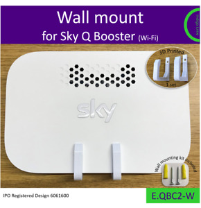 Old Sky Q Booster wall bracket. Holder Mount - white. Made in the UK by us.