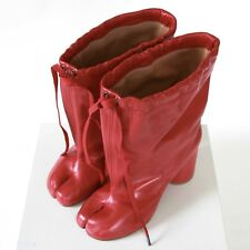 MAISON MARTIN MARGIELA split toe red leather high heel shoes tabi boots 37 NEW